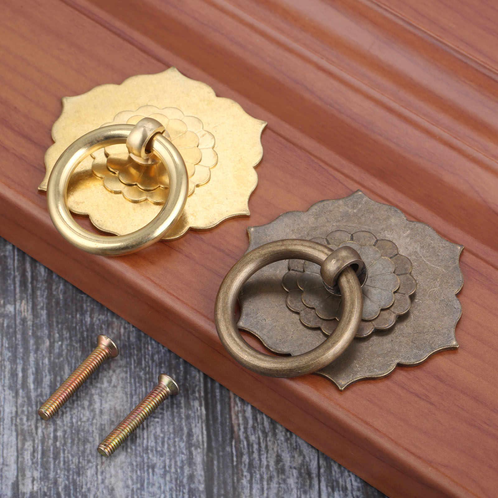 2Pcs Vintage ทองเหลืองกล่องเครื่องประดับแหวนลูกบิดเฟอร์นิเจอร์ฮาร์ดแวร์โบราณตู้ลิ้นชักประตูห้องครัวดึง 35 มม.