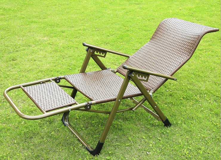 Outdoor Wicker Chair Recliner Folding Elderly Lunch Chairs