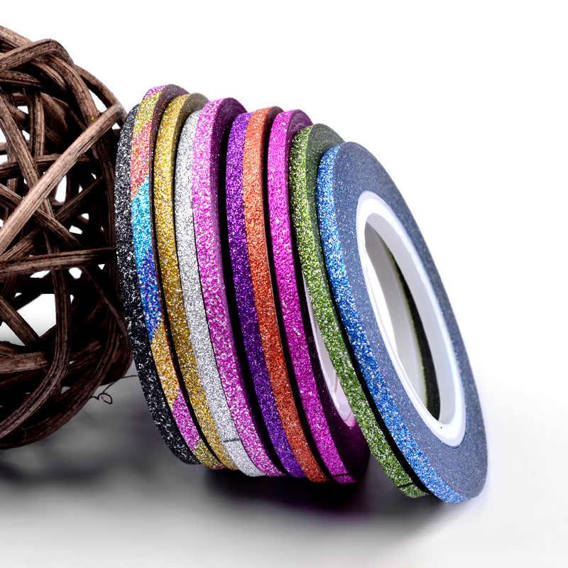 1Mm 12 สีเล็บGlitter Stripingเทปชุดสติกเกอร์ศิลปะตกแต่งDIYเคล็ดลับสำหรับเล็บเจลRhinestones decorat M2142