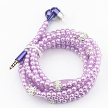 New Arrival Fashion Earphones Rhinestone Luxurious Pearl Necklace Earphone for Women Gift Stereo Earbud Auriculares Collar Hot