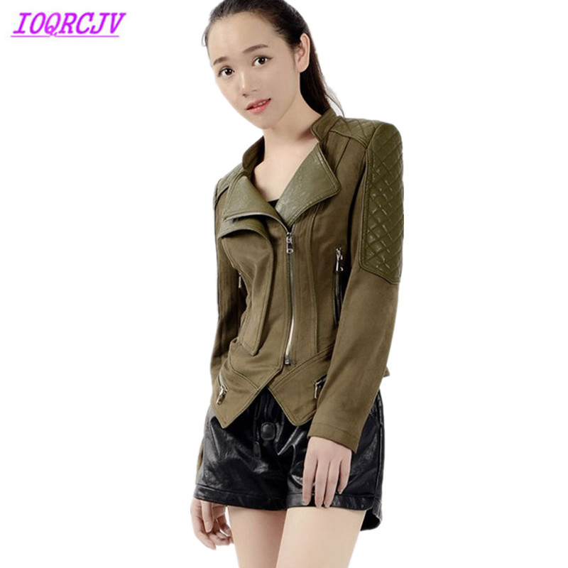 Plus size 6XL   Leather   jacket for women 2018 Spring and autumn short jacket Deerskin   Suede   and PU   Leather   Splice bomber jackets