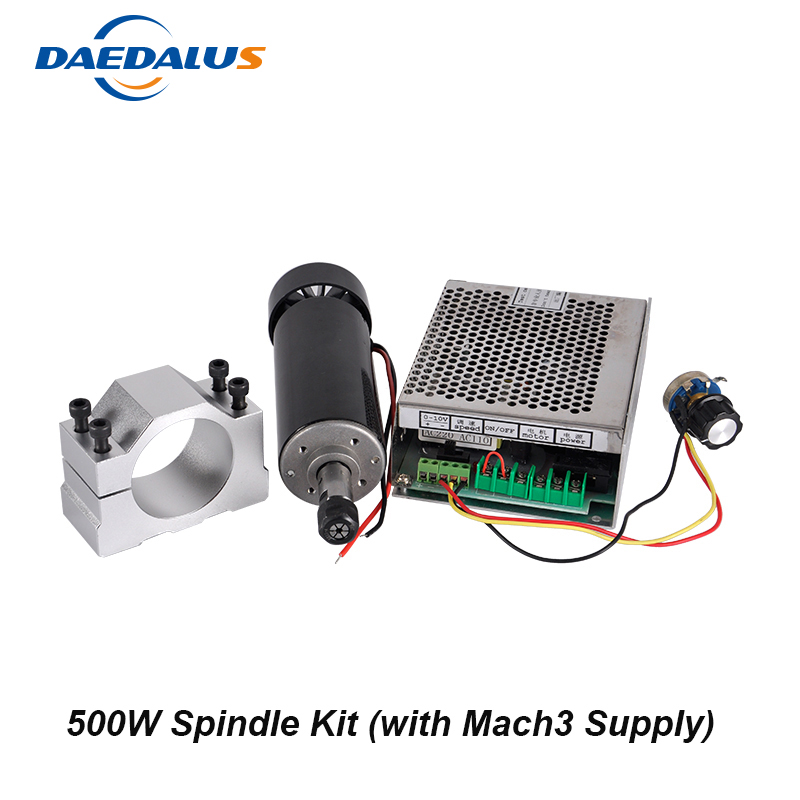 Spindle 500W Air Cooled Spindle ER11 Motor CNC Router Tools 110V 220V Mach3 Switching Power Supply 52mm Clamp For Milling cnc spindle motor 300w air cooled spindle er11 milling router tools 110v 220v adjustable power supply 52mm clamp collet chuck