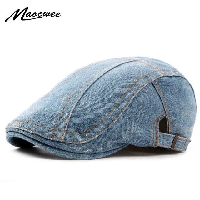 3103308e76d New Spring Autumn Outdoor Cowboy Berets Hat Jeans Cap For Men Casual Retro  Shade Hats Men