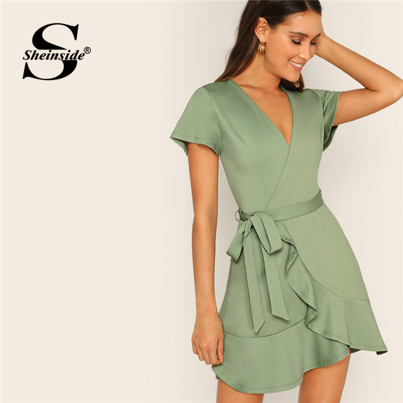025e036a8d97e Sheinside Surplice Neck Wrap Ruffle Hem Belted Boho Dress 2019 Green Pastel  Asymmetrical Deep V Neck Short Sleeve Summer Dresses