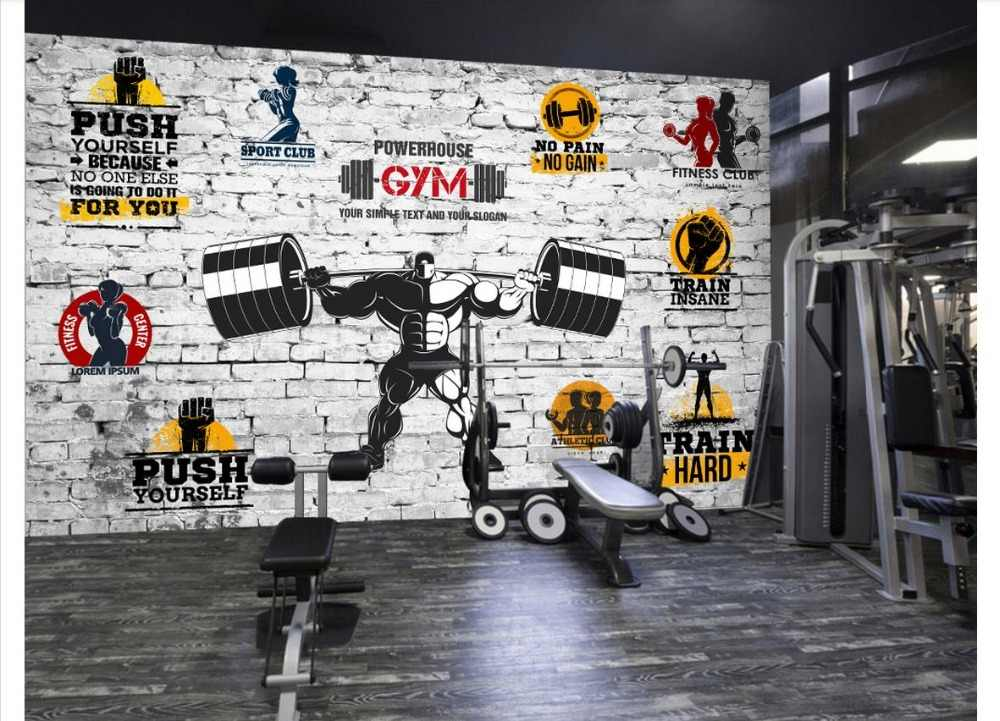 Custom Photo Wallpaper 3d Gym Mural Wall Paper Modern Minimalist Personality Motivational Gym Yoga Brick Wall Background Wall Aliexpress