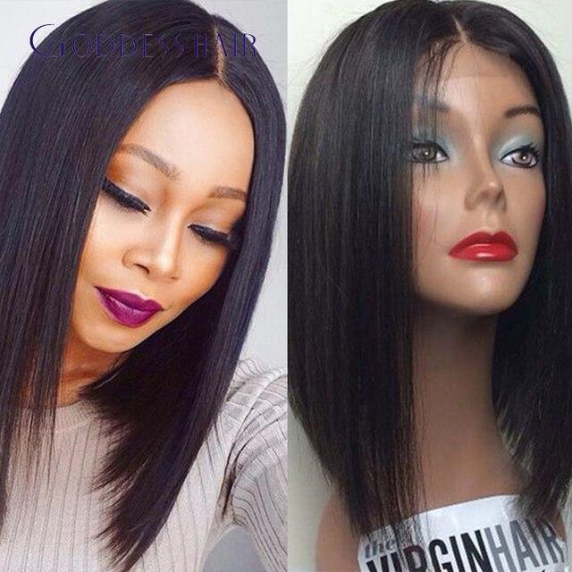 Brazilian bob u part wig with side bangs silky straight brazilian virgin  hair 1x4(LxH) u parts bob wigs  1  1b  2  4 jet black 1efb12454