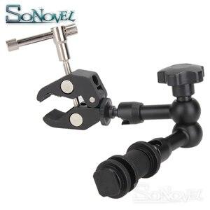 Image 5 - 7 인치 11 인치 조정 마찰 articulating 매직 암 + dslr lcd 모니터 용 슈퍼 클램프 led 비디오 라이트 카메라 액세서리