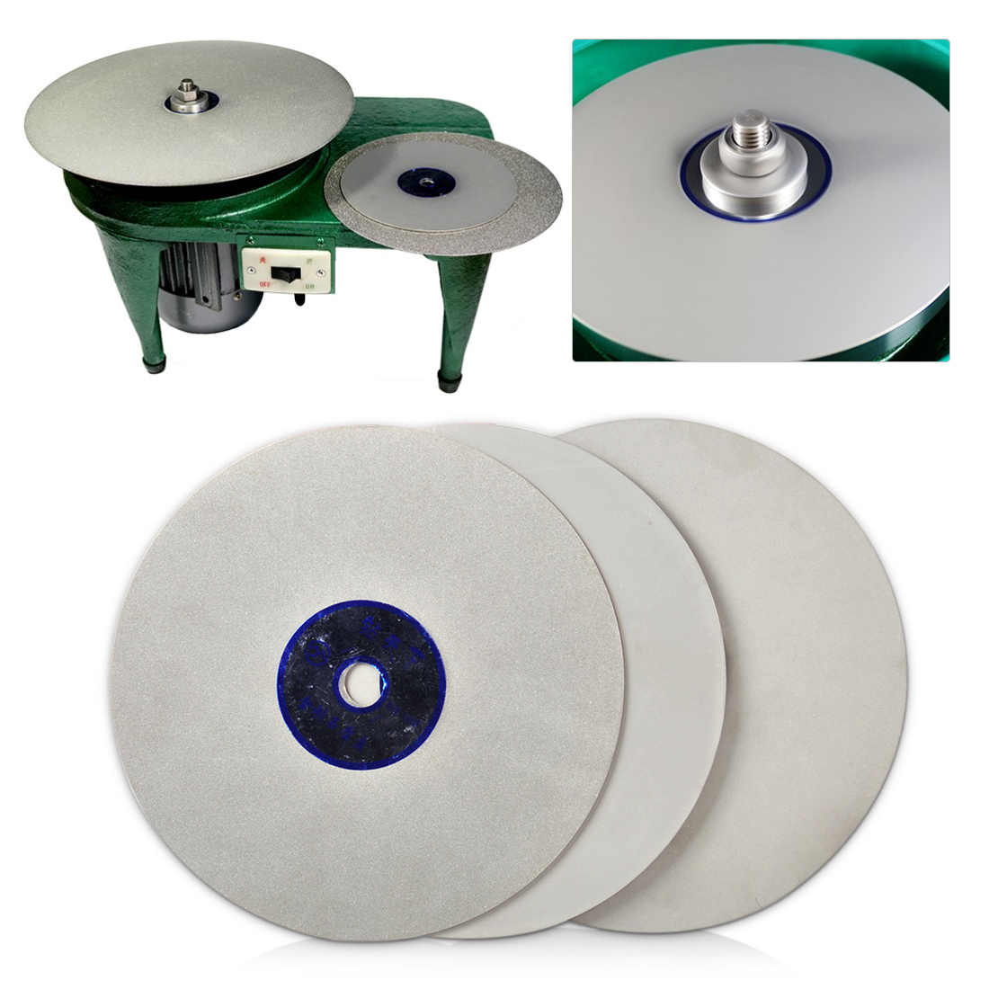 "LETAOSK High Quality 6"" Lapidary Grinding Polishing Wheel Disk Grit 500/1200/3000 Diamond Coated Flat Lap Tool"