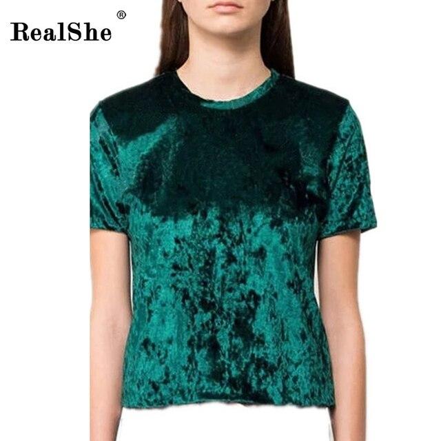 RealShe Women's T Shirts round Neck velvet T-shirt Women Plus Size short sleeve streetwear slit T Shirt for women clothing
