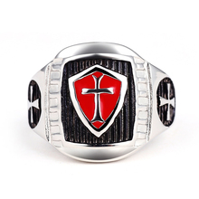 Stainless Steel Titanium Red Armor Shield Knight Templar Crusade Cross Signet Ring Medieval Signet Retro Vintage