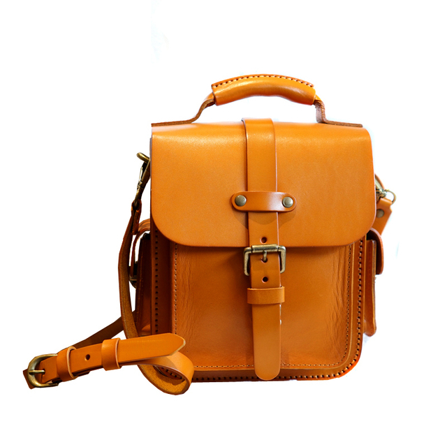 Japan Style Handmade Genuine Leather Women Small Flap Pocket Purse Real Cowhide Female Solid Handbag Lady Crossbody Shoulder Bag
