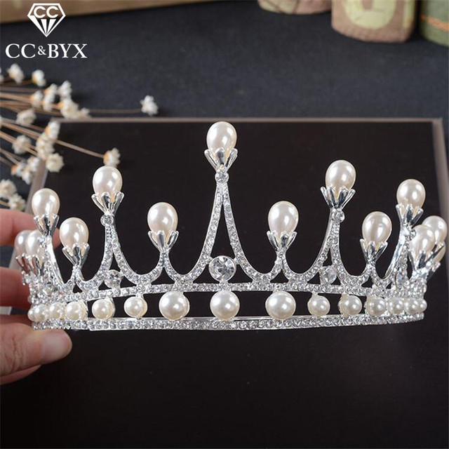 CC Jewelry crowns tiaras for bride crystal beads pearl wedding hair accessories fine jewellery queen bijoux crowns party HG820