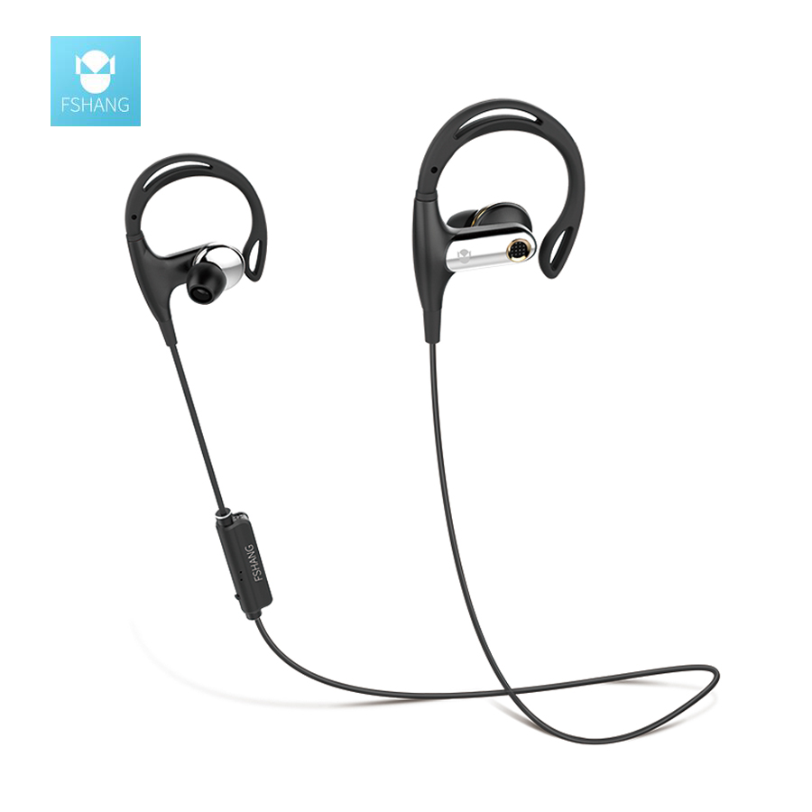 FShang Bluetooth Earphone Bass Stereo Wirele Earpiece With Microphone CSR Sport Running Anti Sweat HIFI Headset Earbuds kulakl k wireless bluetooth sports headset earphone hifi microphone stereo music earbuds earpiece neckhang with rechargeable battery