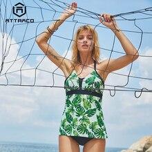 цена на Attraco Women Tankini Set Swimwear Floral Print Halter Backless Cross Padded Vintage Beachwear Bathing suit Two piece Bikini