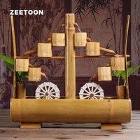 100 240 В Винтаж бамбука фонтан двойной waterwheel Desktop Украшения аквариум фэн шуй Lucky Домашний декор свадебный подарок новый