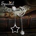 Специальный новинка стерлингового серебра 925 мотаться луна и звезды длинные серьги CZ ювелирных изделий с бриллиантами подарки для женщин ED151229