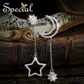 Special New Fashion 925 Sterling Silver Dangle Earrings Moon and Star Long Earrings CZ Diamond Jewelry Gifts for Women ED151229