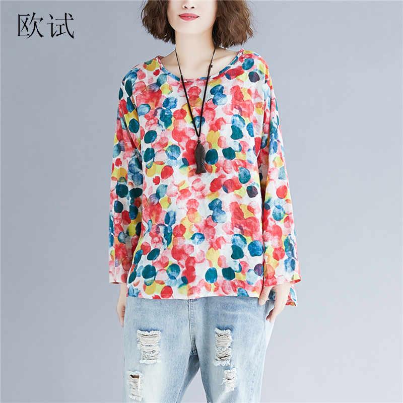 d04b9e28289 Plus Size Women T Shirt Tops Long Sleeve Cotton Linen Tshirts Polka Dot  Printed Tshirt Spring Casual Loose Tee Shirt Femme 2019
