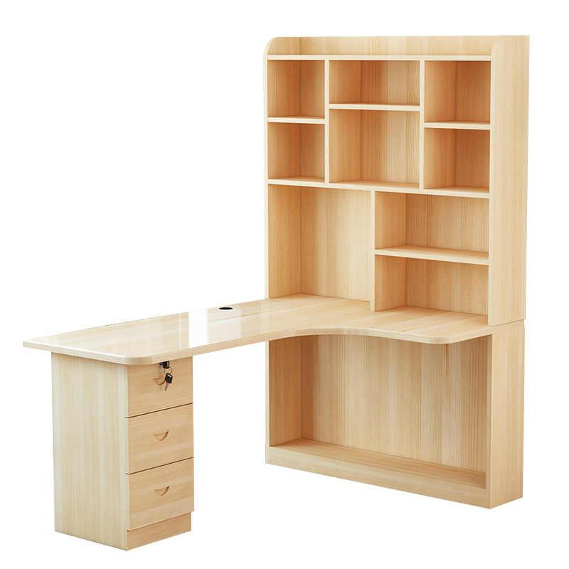 Mueble Yatak Ofis Escritorio Tisch Bürosu Meuble Para Dizüstü Biurko Retro Ahşap Masa Standı Mesa dizüstü bilgisayar masası Kitaplık Ile