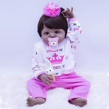 55CM High quality black skin all Silicone reborn dolls, Can be washed kit set cute DIY doll toy holiday gift brinquedo menina