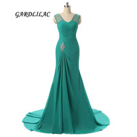 Sexy Green Royal BLue Mermaid Evening dresses 2018 Beads Long Evening Prom Gown Wedding Party Gown
