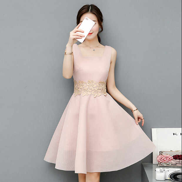 ab8a61c152c 2017 Hot Sale Nude Color Dresses Square Neck Sleeveless Lace Dress Women