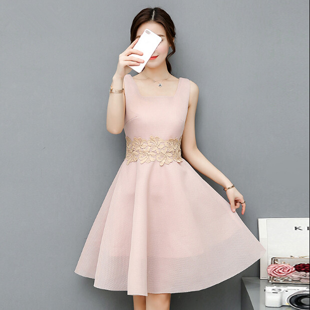 Us 4249 15 Off2017 Hot Sale Nude Color Dresses Square Neck Sleeveless Lace Dress Women In Dresses From Womens Clothing On Aliexpress