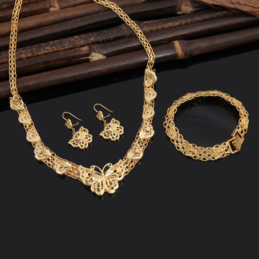 24K gold color Ethiopian fashion women jewelry sets Dubai gold