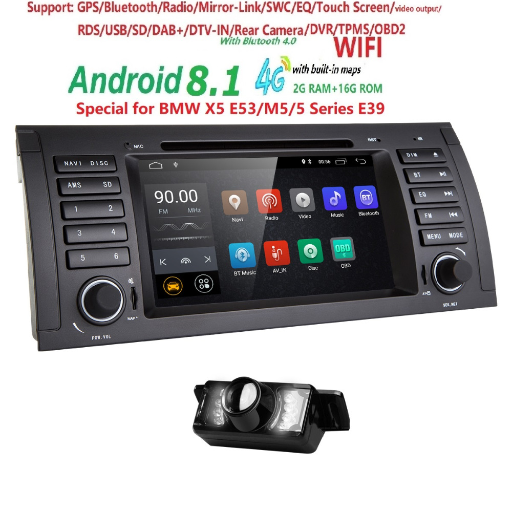 Android 8 1 7 Car DVD Player Quad Core for BMW 5 Series E39 X5 E53