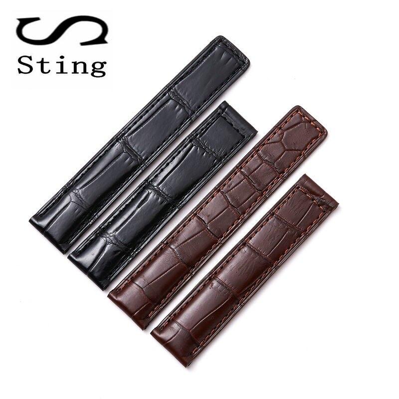 Стинг ремешок 19 20 21 22 мм натуральной кожи аллигатора кожа Для мужчин часы ремешок Аксессуары для часов Для женщин браслет