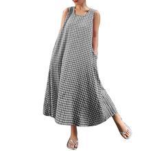 2019 Fashion Summer Shirt Dresses Plaid Print Plus Size Sleeveless O-Neck Loose Women Sundress Long Maxi Tank Dress with Pockets summer sleeveless loose plaid dress women casual pockets long elegant dress plus size