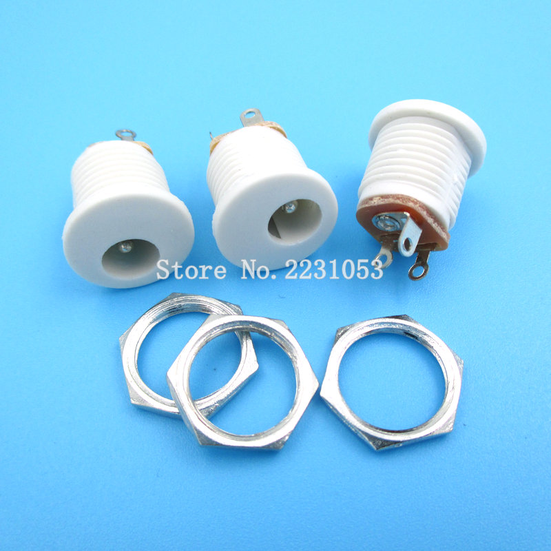 10PCS/LOT DC022 5.5*2.1 / 5.5 X 2.1mm DC Power Socket/ DC Connector Panel Mounting DC-022 White DC Socket
