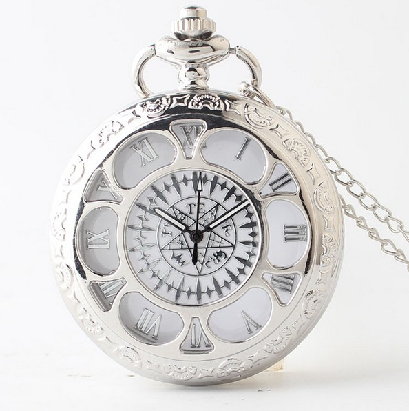 Black Butler Silver Sunflower Men And Woman Hollow Fashion Quartz Necklace Pocket Watches Gift