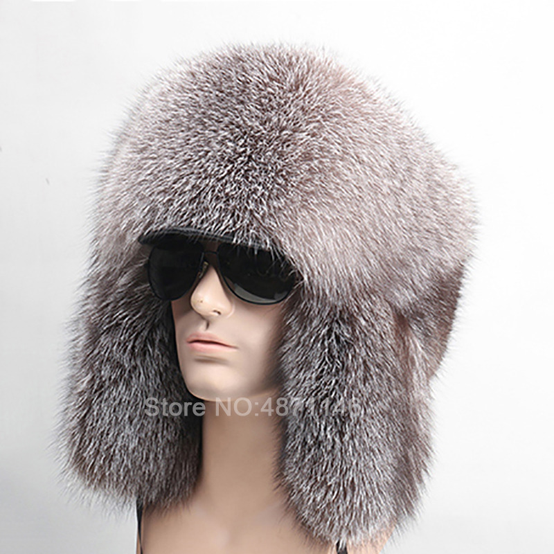New Winter Russia Men Male Boy with visor brim real full warm fox fur hat ear Earmuff genuine raccoon Bomber Whole fur Hats caps