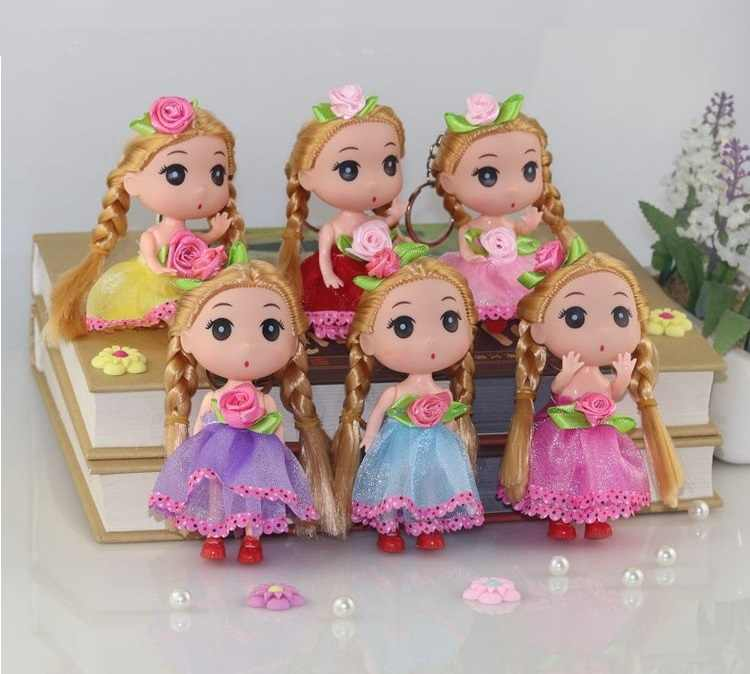 12CM Small flower Princess bride confused doll fat baby key chain bag pendant wedding dress creative gift doll toy