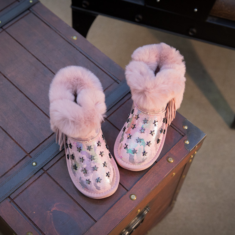 Fashion colorful bling girls winter boots snow boot for girls winter shoes  with fur kids  toddler girls shoes