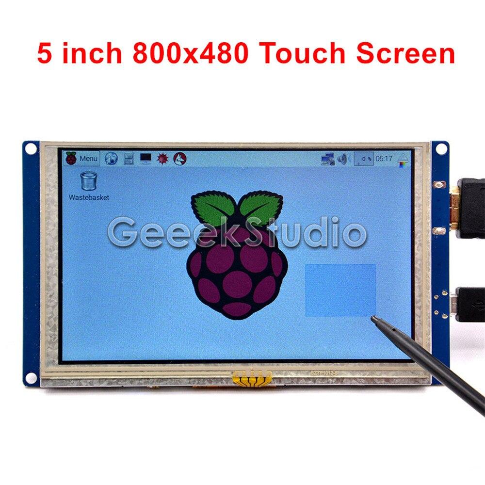 Écran tactile LCD HDMI 5 pouces écran tactile 800*480 TFT pour Raspberry Pi 3/2 modèle B/PC pilote gratuit Plug and Play