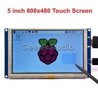 선박 CN/미국/영국! 5 인치 HDMI LCD 터치 스크린 800*480 TFT 디스플레이 라즈베리 파이 3/2/B +/PC 무료 드라이버 플레