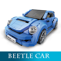 Xingbao 03015 944Pcs Genuine Creative MOC Technic Series Beetle Car Model Building Kits Blue Racing Car Block LegoINGlys Bricks