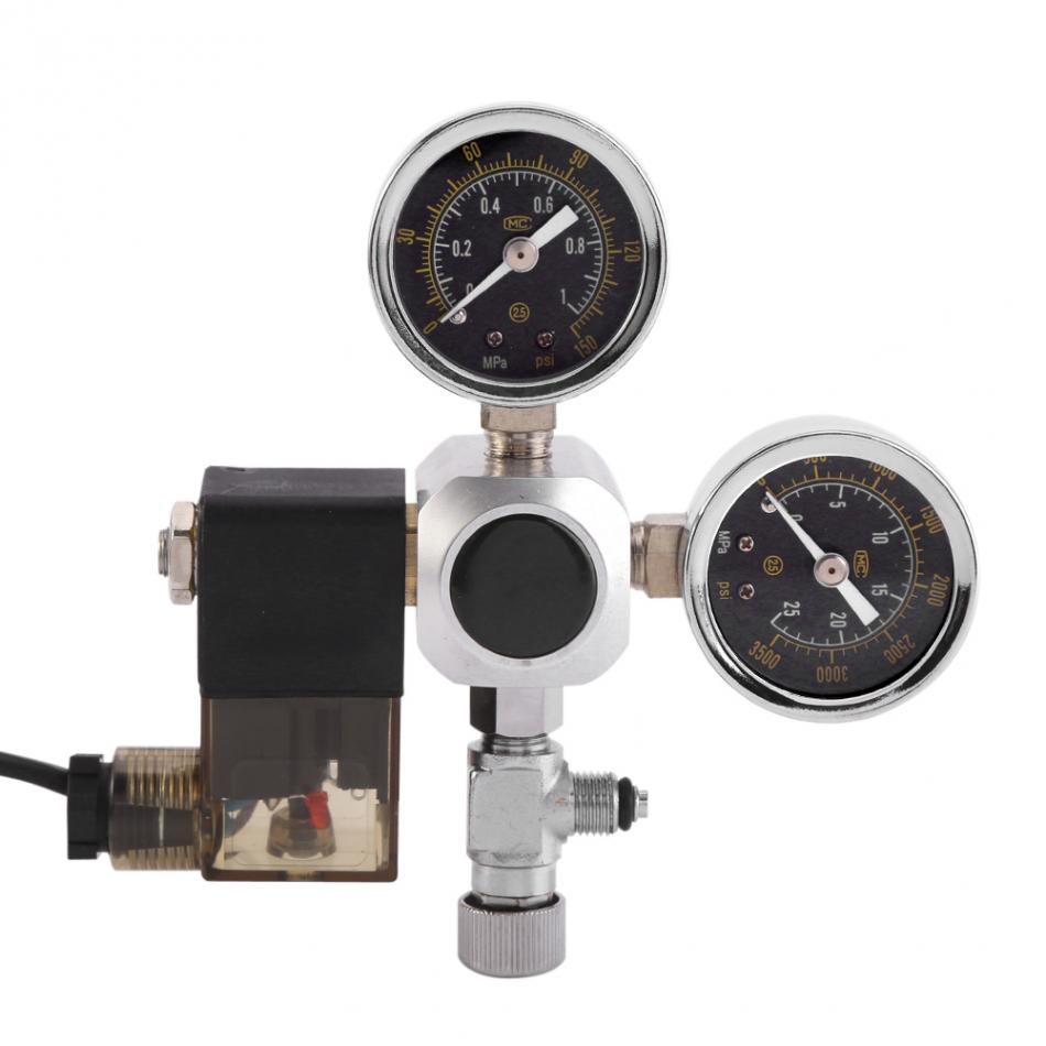 Aquarium CO2 Regulator with Check Valve Bubble Counter magnetic Solenoid Valve Aquarium System Dual Gauge CO2 Pressure Regulator high pressure freon pressure gauge working together with charging valve check valve to monitor the system leakage changes
