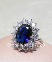 Wholesale price FREE SHIPPING ^^^^ 18K White Gold Plated Element Crystal Blue Ocean Heart Princess Ring(China)