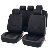 9Pcs Luxury PU Leather Car Seat Covers Universal Auto Waterproof Dustproof Protector Seat Case for Vehicle Black Cover