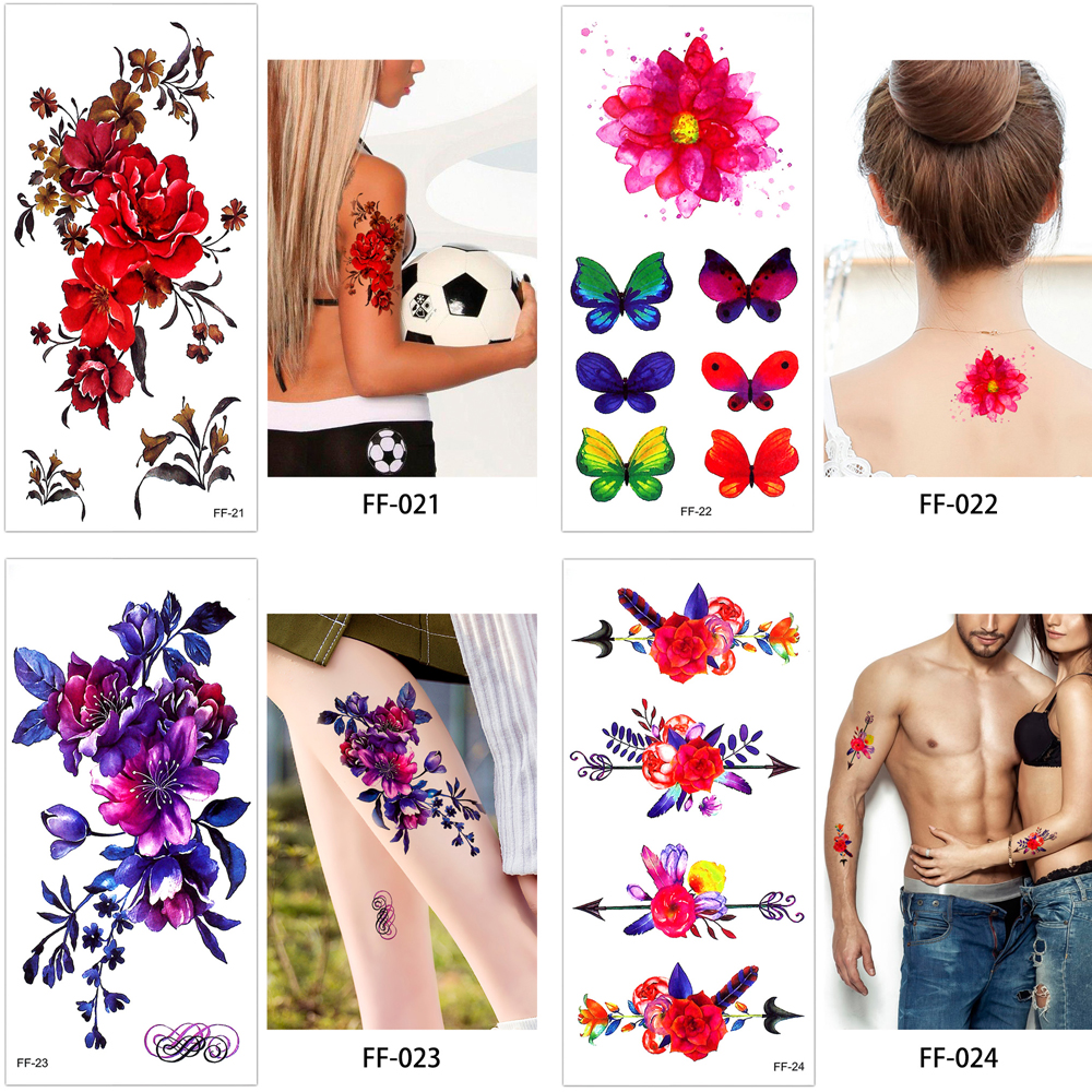 6de21f082 26 Style Men Women Quotes Floral Animals Waterproof Temporary ...