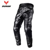 DUHAN Motorcycle Trousers Motorcross Riding Protective Trousers Waterproof Windproof PU Imitation Leather Racing Sports Pants