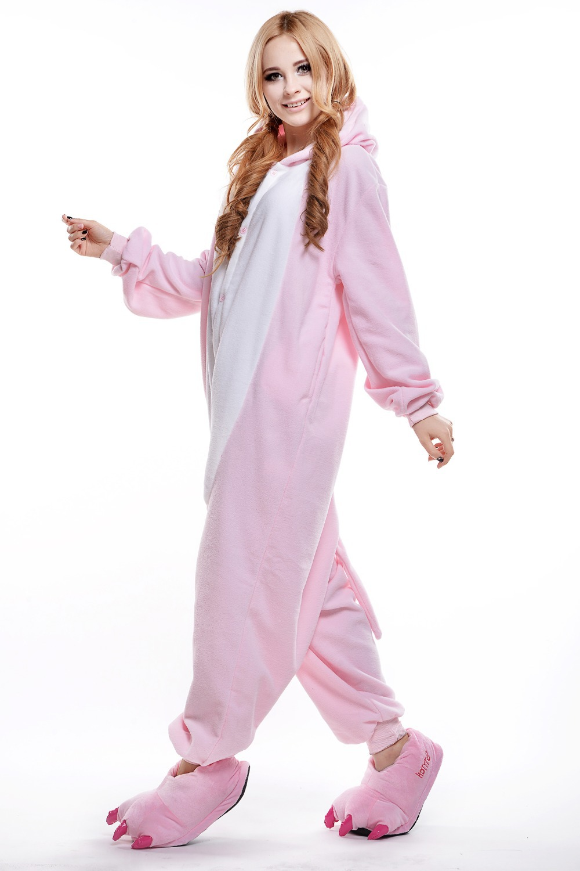 d342158ea297 Adult Pink Pig Onesie  Plus Size Animal Footed Pajamas  Anime ...