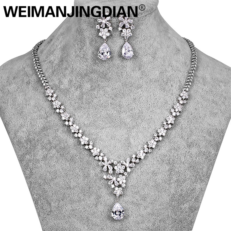 WEIMANGJINGDIAN Silver / Gold Colors Gorgeous Cubic Zirconia Crystal Floral Necklace and Earring Jewelry Set for Bride gorgeous leaf floral hollow out necklace for women