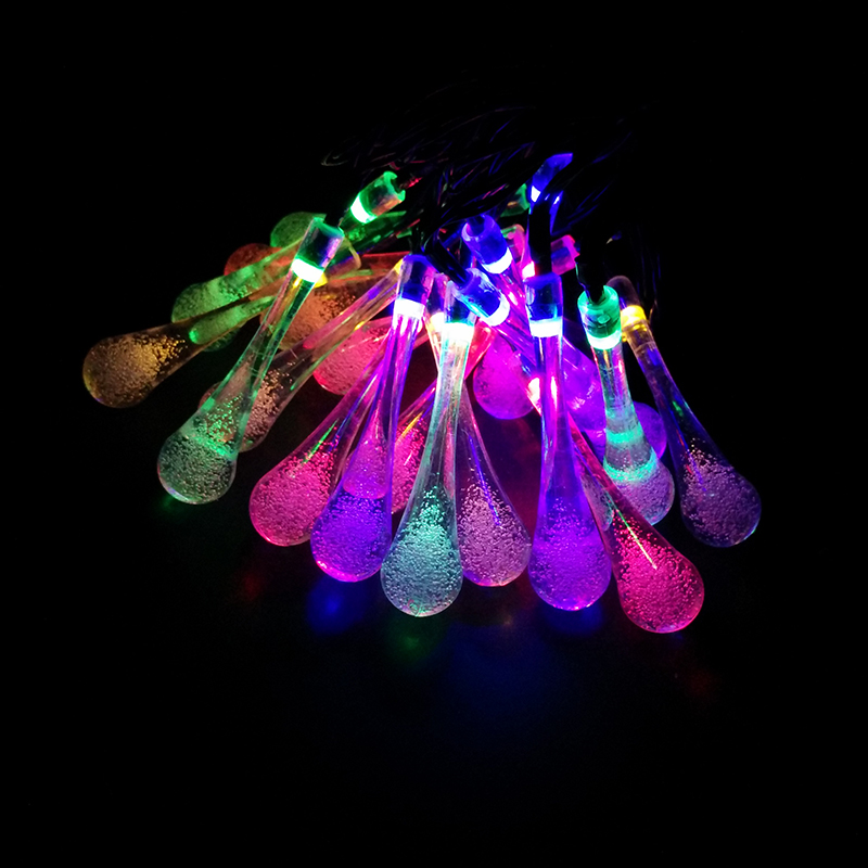 YIYANG 7M LED Raindrop Solar Powered Outdoor String Lights for Outside Garden Patio Party Christmas 2 Modes Multi Color Luces