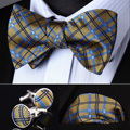 Pocket Square Classic Party Wedding BZC02Y Yellow Blue Check Men Silk Self Bow Tie handkerchief Cufflinks set