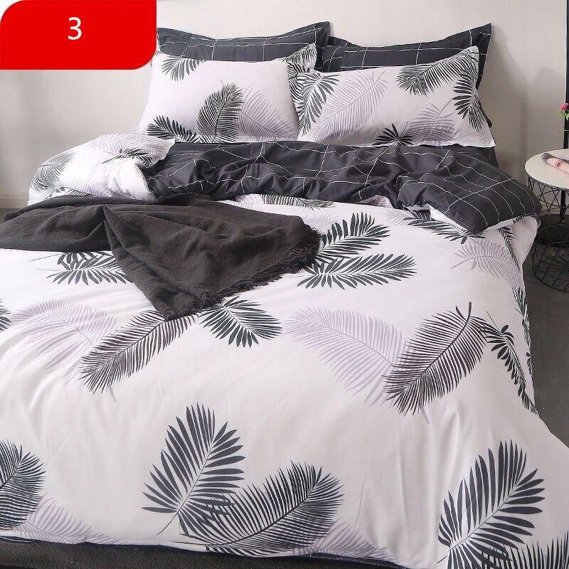 4 Pcs/Set Classic Bedding Set 4 Sizes Grey Blue Flower Bed Linen Duvet Cover Set Pastoral Bed Sheet AB Side Duvet Cover 2019 Bed