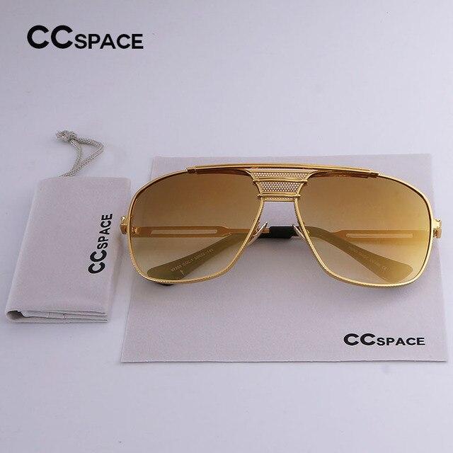 CCSPACE Or Métal Grand Cadre Hommes Femmes Classique Marque Designer  lunettes de Soleil Gradient Or Lentille 42a47a7c64bf
